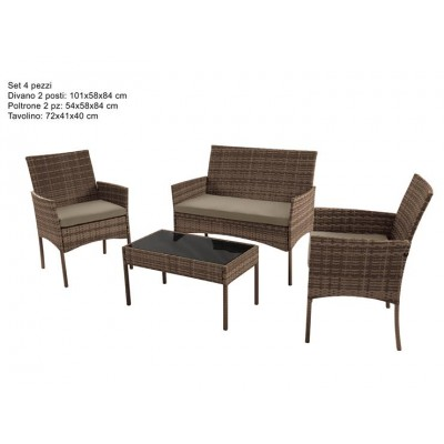 SET GIARDINO 4PZ EFFETTO RATTAN MARRONE + CUSCINI F3008-2/LIGHT BROWN