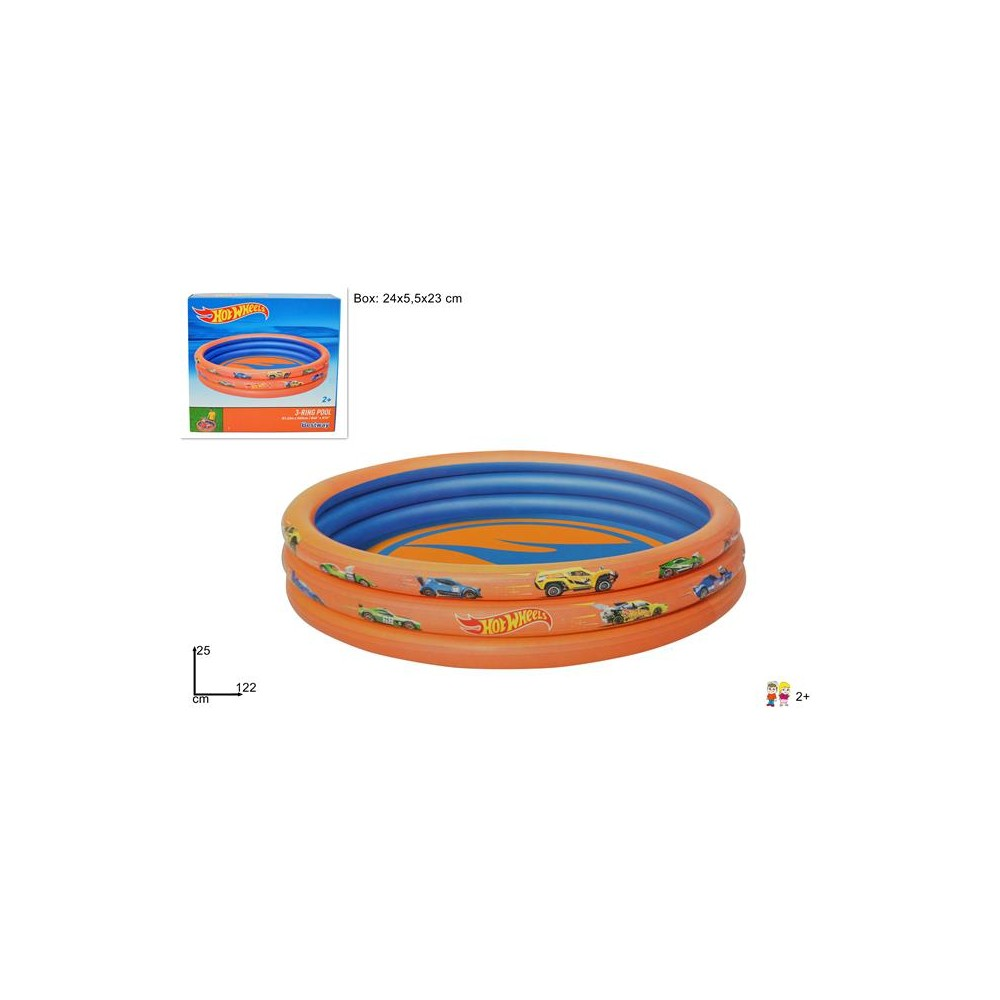 PISCINA 3 ANELLI HOT WHEELS CM 122*25 ART.93403@